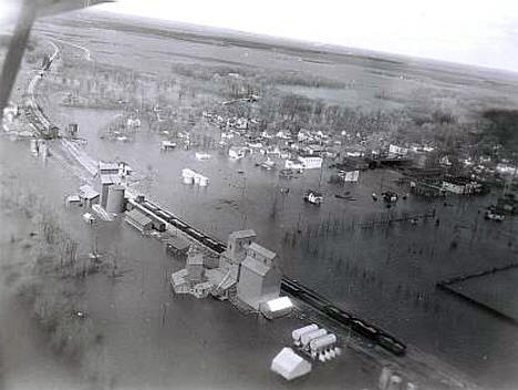 Aerial view during flood, Oslo Minnesota, 1950