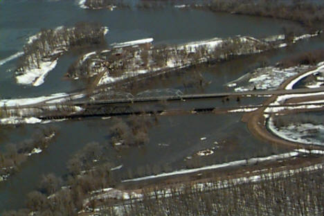 Bridges over the Red River in Oslo Minnesota during the 1997 flood