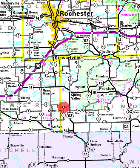 Minnesota State Highway Map of the Ostrander Minnesota area