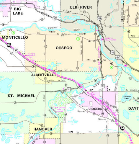 Minnesota State Highway Map of the Otsego Minnesota area