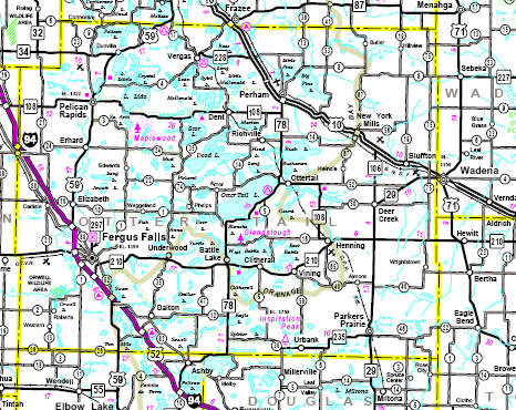 Minnesota State Highway Map of the Otter Tail County area