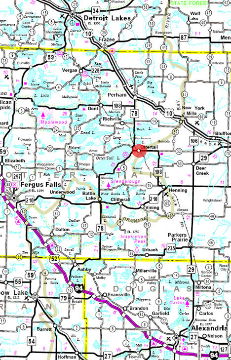 Minnesota State Highway Map of the Ottertail Minnesota area