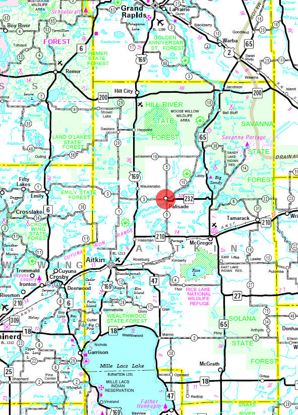 Minnesota State Highway Map of the Palisade Minnesota area