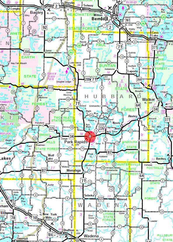 Minnesota State Highway Map Of The Park Rapids Area
