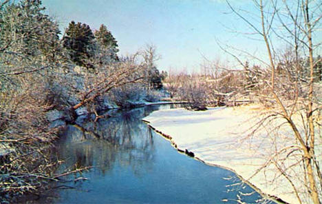 Winter on the Fish Hook River at Park Rapids Minnesota, 1965