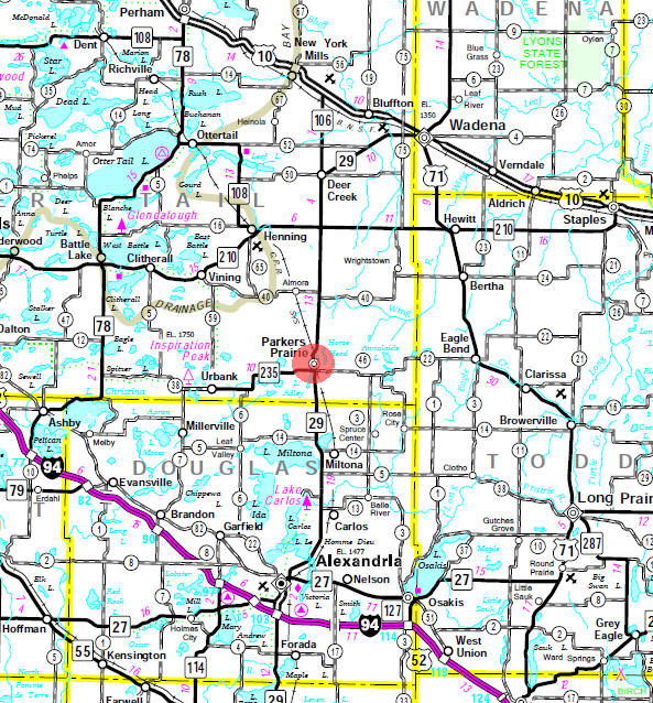Minnesota State Highway Map of the Parkers Prairie Minnesota area