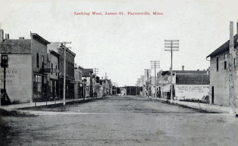 Looking west on James Street, Paynesville Minnesota, 1918