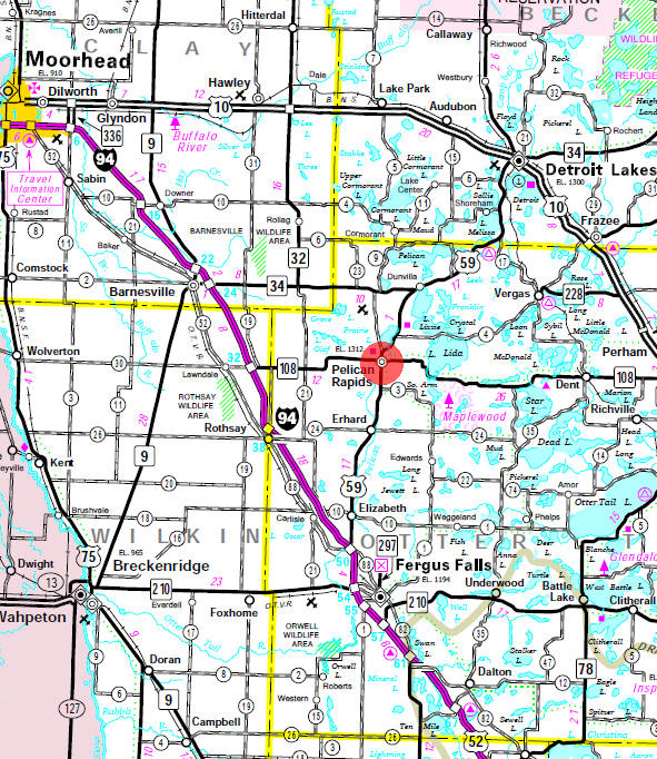 Minnesota State Highway Map of the Pelican Rapids Minnesota area