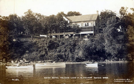 Kings Hotel on Pelican Lake, Pelican Rapids Minnesota, 1910
