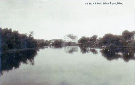Mill and Mill Pond, Pelican Rapids Minnesota, 1917