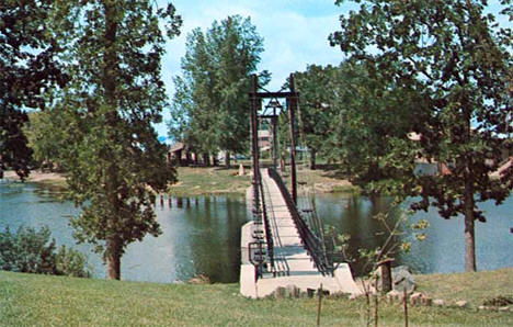 Foot bridge over the Pelican River, Pelican Rapids Minnesota, 1980
