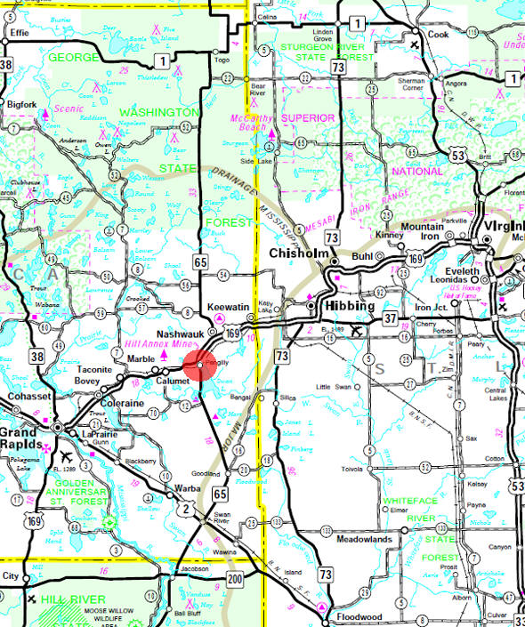 Minnesota State Highway Map of the Pengilly Minnesota area