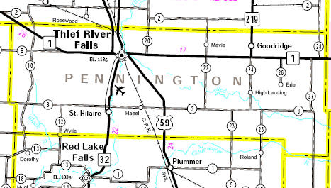 Minnesota State Highway Map of the Pennington County area
