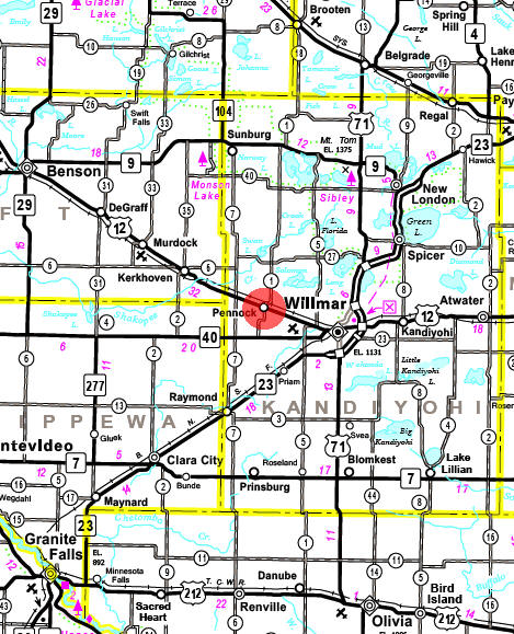 Minnesota State Highway Map of the Pennock Minnesota area