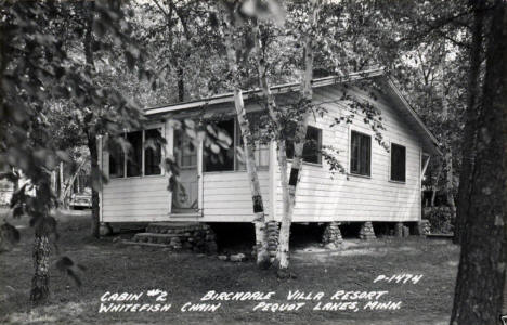Cabin at Birchdale Villa Resort, Pequot Minnesota, 1940's