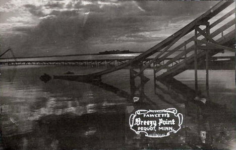 Water Slides at Fawcett's Breezy Point Lodge, Pequot Minnesota, 1930's
