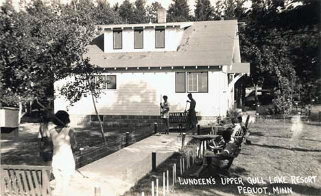 Shuffleboard at Lundeen's Resort, Pequot Lakes Minnesota, 1945