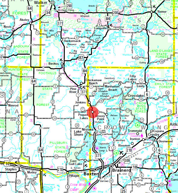 Minnesota State Highway Map of the Pequot Lakes Minnesota area