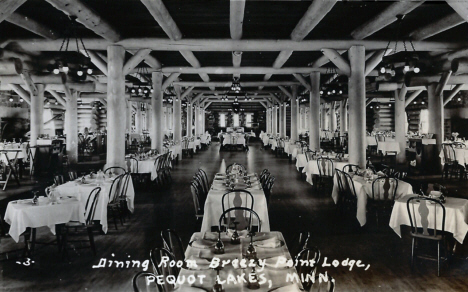 Dining Room, Breezy Point Lodge, Pequot Lakes Minnesota, 1940's