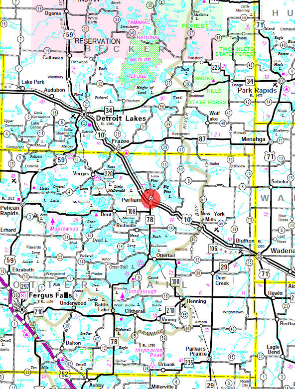 Minnesota State Highway Map of the Perham Minnesota area