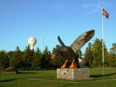 View of the Giant Black Duck with the Blackduck Water Tower in the background, 2004