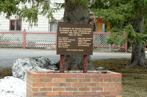 Sign commemorating those buried at First Lutheran Church before the 1894 fire