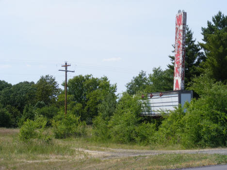 Sign for the abandoned Wadena Drive Inn Theater on Highway 71, 2007