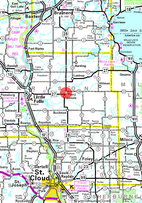 Minnesota State Highway Map of the Pierz Minnesota area