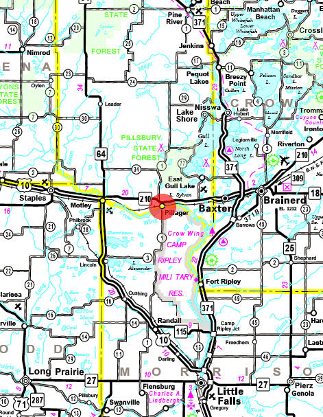 Minnesota State Highway Map of the Pillager Minnesota area