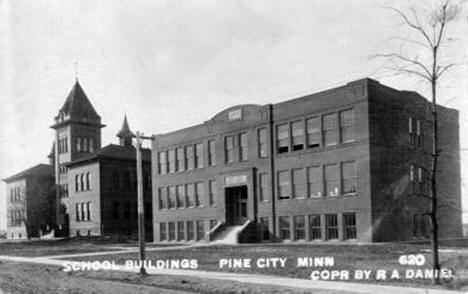 Webster School (left) and Pine City High School (right), 1915