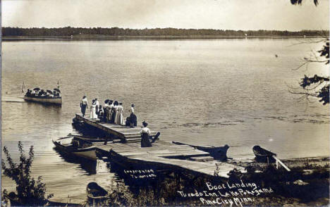 Boat Landing at Tuxedo Inn on Lake Pokegama, Pine City Minnesota, 1910