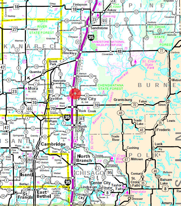 Minnesota State Highway Map of the Pine City Minnesota area