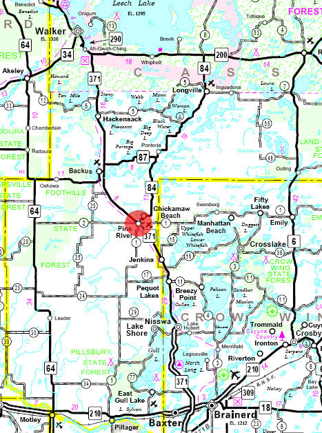 Minnesota State Highway Map of the Pine River Minnesota area