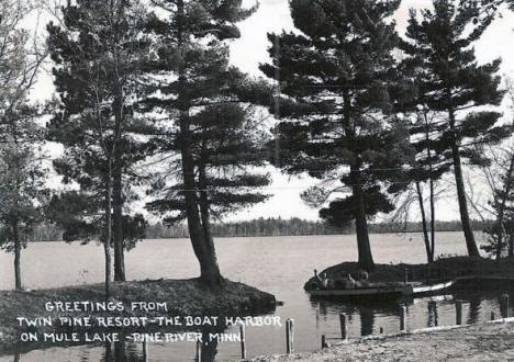 Boat Harbor at Twin Pine Resort,  Pine River Minnesota, 1940's