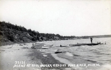 Scene at Killworry Resort, Pine River Minnesota, 1940's