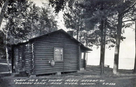 Cabin at Shore Acres Resort on Woman Lake, Pine River Minnesota, 1940's