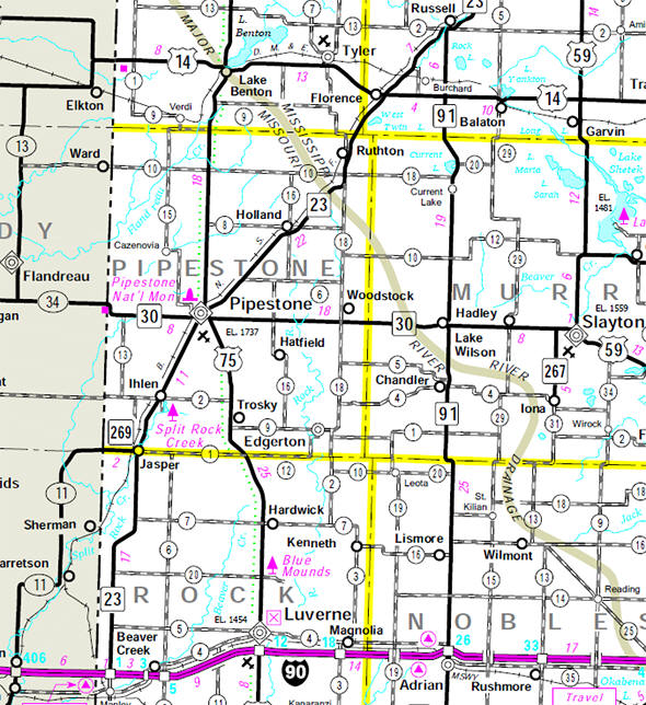 Minnesota State Highway Map of the Pipestone County Minnesota area