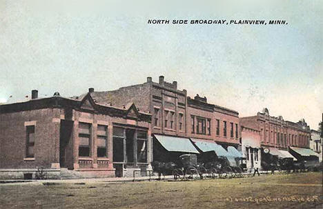 North side of Broadway, Plainview Minnesota, 1908