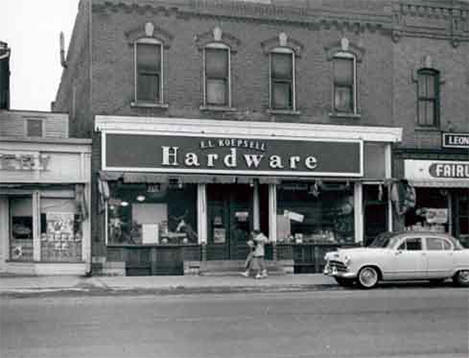 Exterior view of E. L. Koepsell Hardware, Plainview Minnesota, 1956
