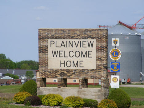 Welcome sign, Plainview Minnesota, 2010