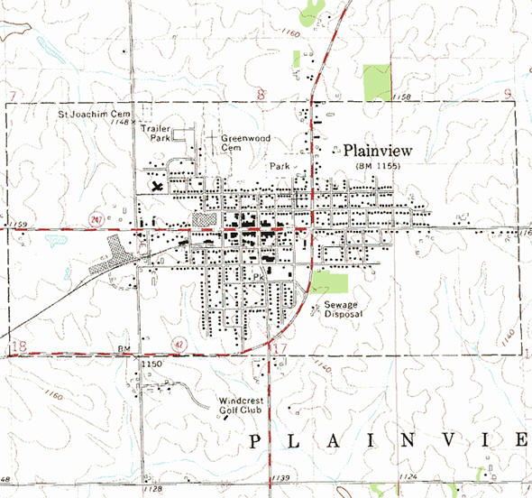 Topographic map of the Plainview Minnesota area