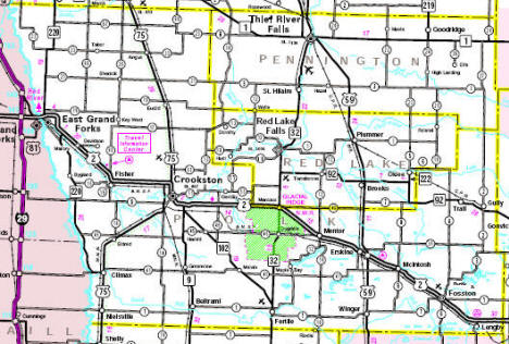 Minnesota State Highway Map of the Polk County Minnesota area