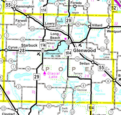 Minnesota State Highway Map of the Pope County Minnesota area