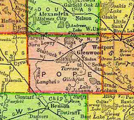 1895 Map of Pope County Minnesota