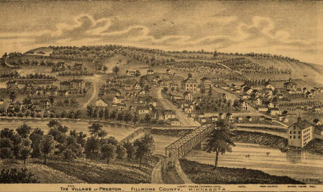 View of the Village of Preston Minnesota, 1874