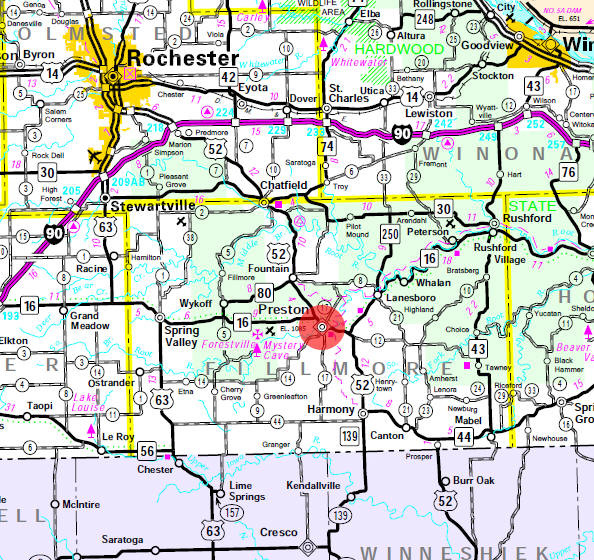 Minnesota State Highway Map of the Preston Minnesota area