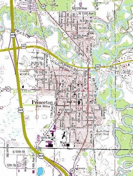 Princeton Minnesota Map.Guide To Princeton Minnesota