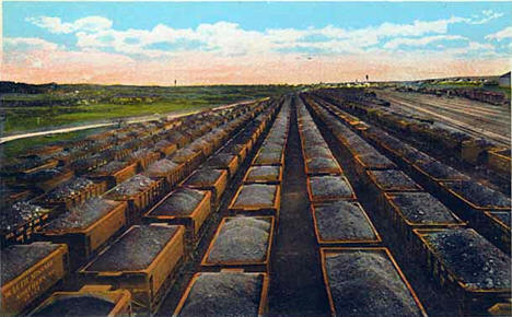 Iron ore cars in Duluth Missabe and Northern Railroad yards at Proctor, 1910
