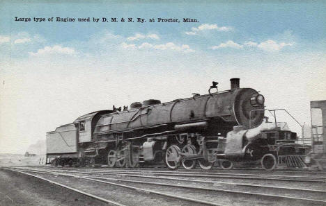 Large type of engine used by D. M. & N. Railway, Proctor Minnesota, 1920's?