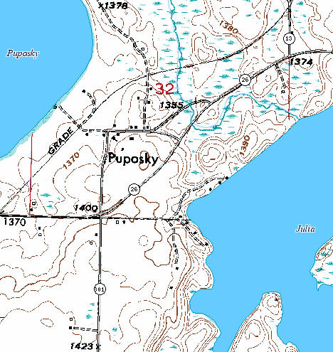 Topographic map of Puposky Minnesota